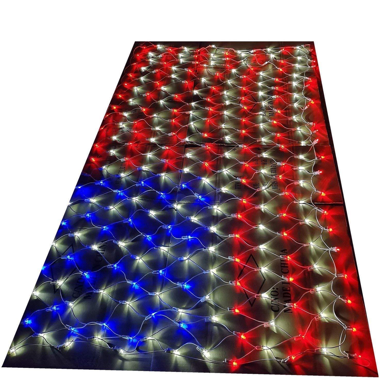 561796bb2e6 Get Quotations · STARSHINE 120V LED Flag Net Lights of The United States