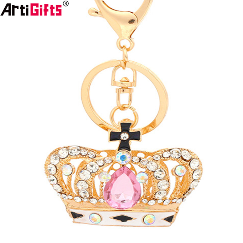 Key Chain Manufacturer China Custom Cheap Jewelry Diamond Gold Crown Keychain