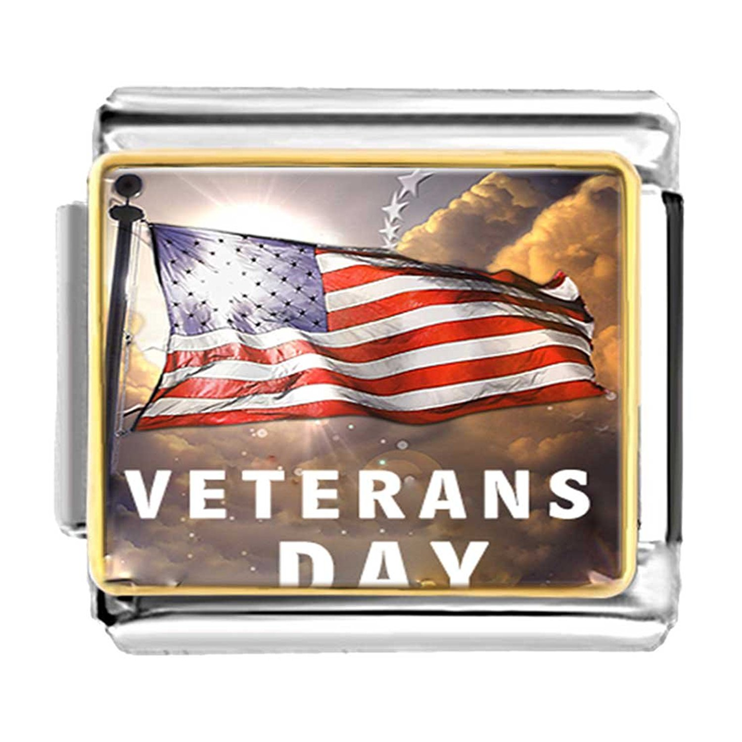 GiftJewelryShop Gold Plated Veterans Day American flag Bracelet Link Photo Italian Charms