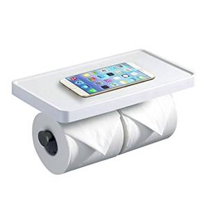 Hiendure Toilet Paper Holder, SUS304 Stainless Steel Bathroom Tissue Holder with Mobile Phone Storage Shelf,White Painting and Brushed Nickel