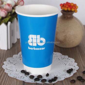 05aa86ca9ae High quality disposable custom paper cup, blue color logo printed tube  wholesale double wall hot