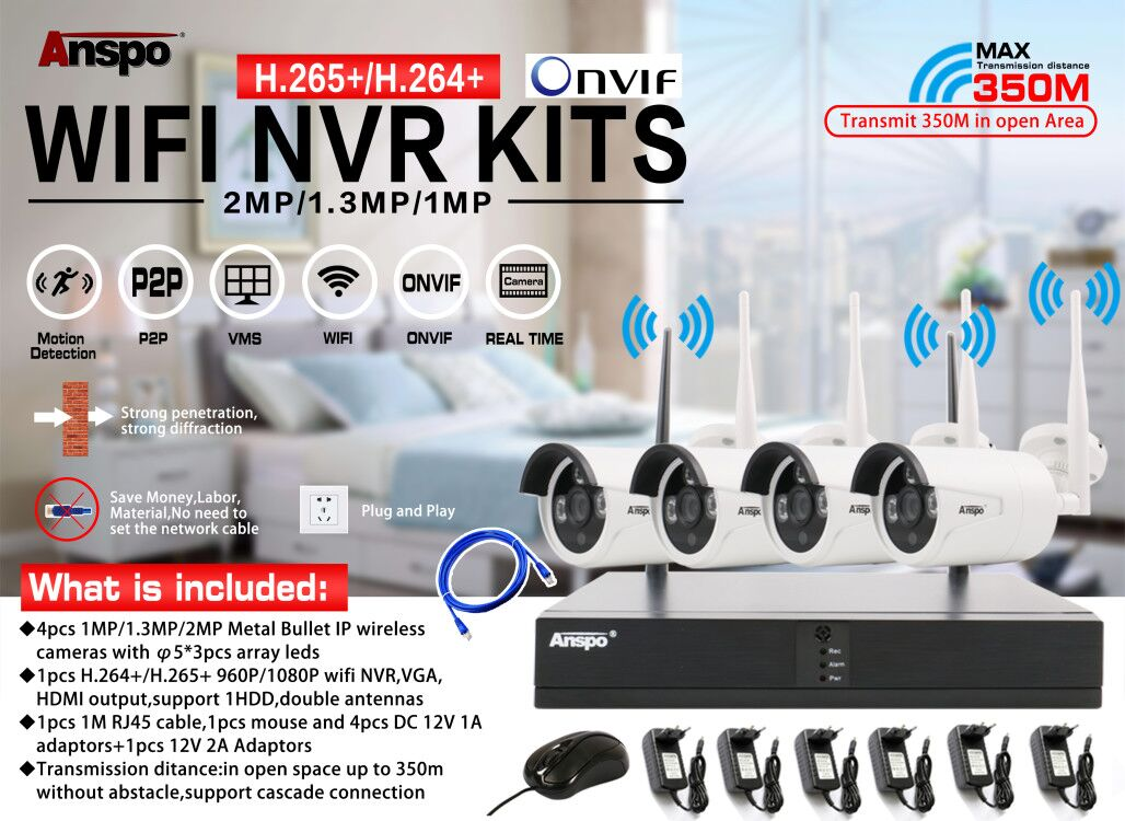 HOT SALE wifi nvr kit 4CH 8CH \2.0MP cctv camera dvr wifi kit