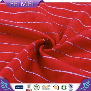 2015 Feimei New Design Stripe Metallic Knit golf wear fabric With Soft Hand Feeling