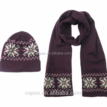 Snow Pattern Winter Christmas Acrylic Double Face Knit Female Scarf