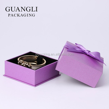 Sweet ladies gift bangle packaging purple color paper box with ribbon bowknot