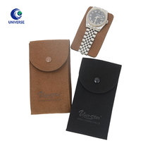 Custom Made Embossed Envelope Jewelry Gift Flap Watch Pouch Packaging Suede Leather Bag With Button