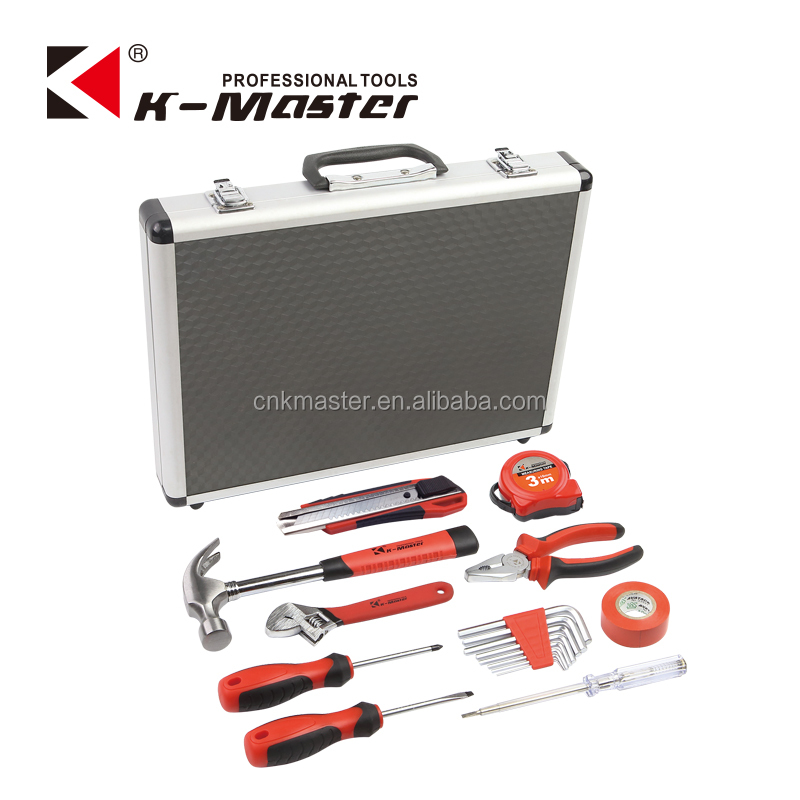 K-Mastet manufactory17 pcs high quality household hand tool set in hand tools sets aluminum alloy tool box
