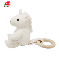 100% Natural Wooden Teething Ring And Organic Cotton Organic Plush Unicorn Baby Molar