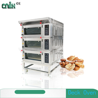 Kitchen Gas 3 deck 6 tray cake baking electric oven /bread baking ovens for sale