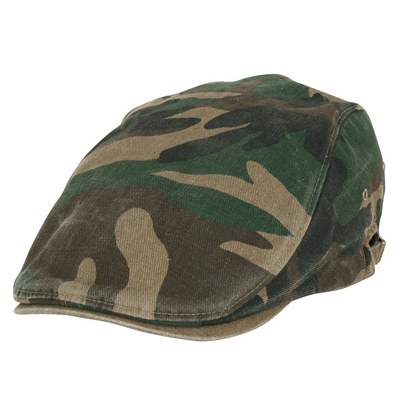 ililily Camouflage Pattern Washed Cotton Golf Hat Flat Strap Newsboy Cap