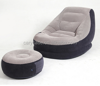 Inflatable Flocking Pvc Chair With Rest Stool Bean Bag Air Sofa Set