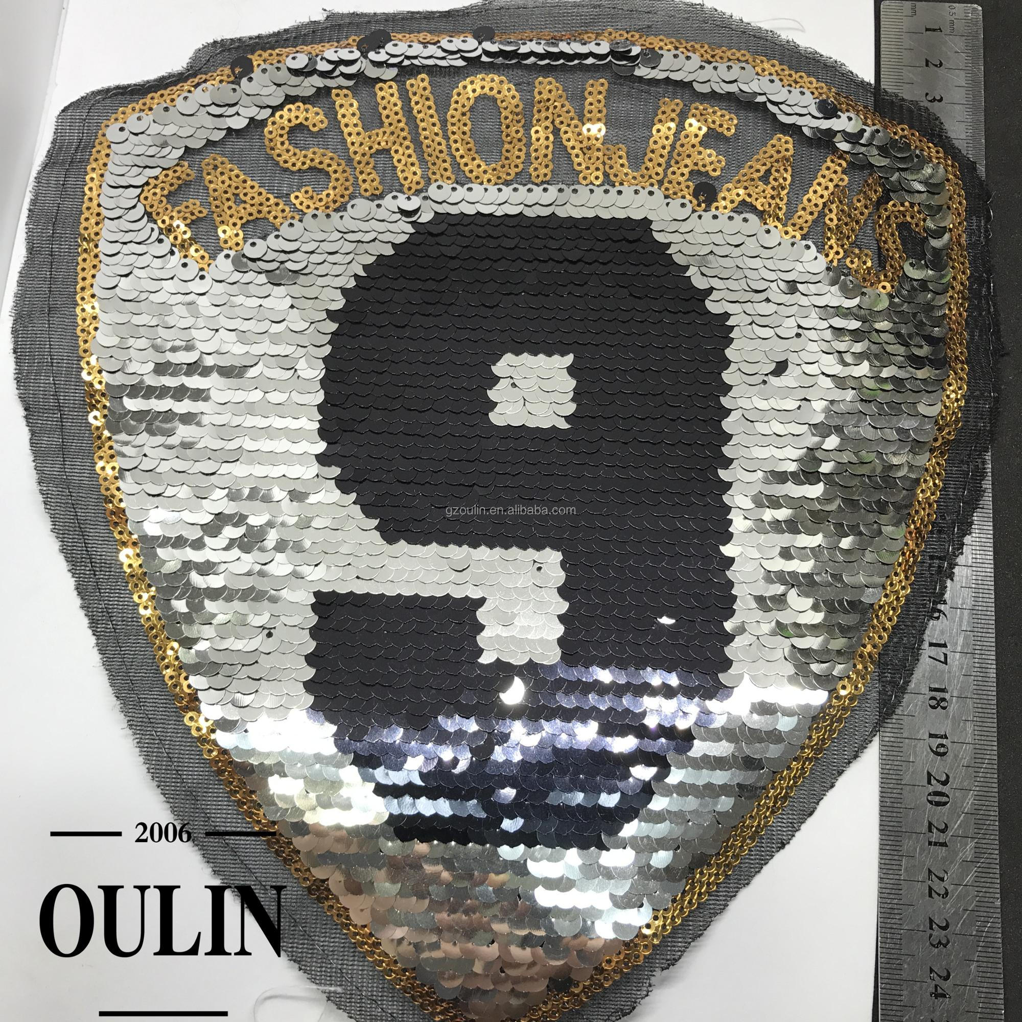 2018 High quality wholesale popular reversible sequin designs embroidery patches
