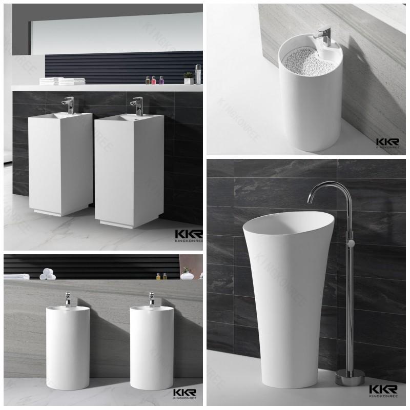 Solid Surface Corner Bathroom Sink Long Narrow Wash Sink