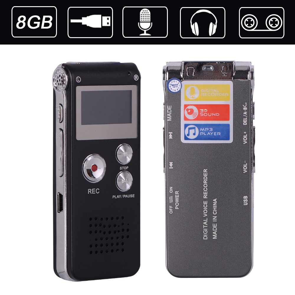 ZIKO Digital Voice Recorder, 8GB Multi-function Portable Mini 2.0 USB Port Voice Recorder Rechargeable Audio Voice Recorder Device MP3 Music Player for Interviews Meetings Lectures Class Record