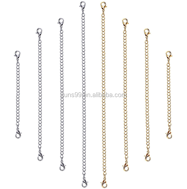 Wholesale Jewelry Accessories Parts Stainless Steel Necklace Bracelet Extender Chain Set, 8 Pieces