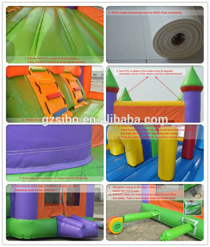 Sibo cheap factory price inflatable bouncy castle with slide Panda castle for sale