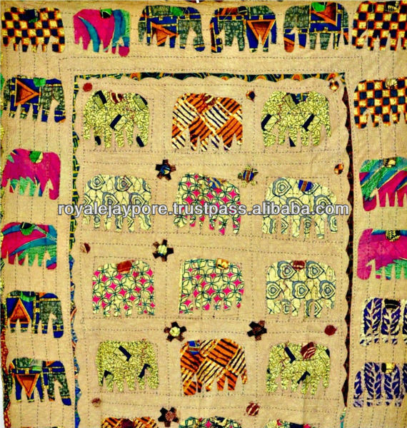 Elephant Patchwork Hand Applique Work Kantha Embroidery Kid's Bed ...
