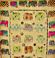 Traditional Indian Elephant Patchwork Multi Color Handmade Kantha ...