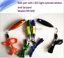 Multi-function tool pen/ball pen with led light ,colored sticker,and strap