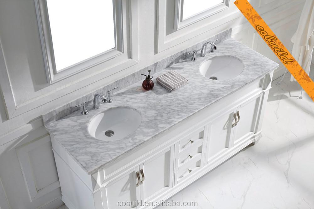 Inch Double Sink Bathroom VanityMarble Top White Bathroom - Bathroom vanities marble top