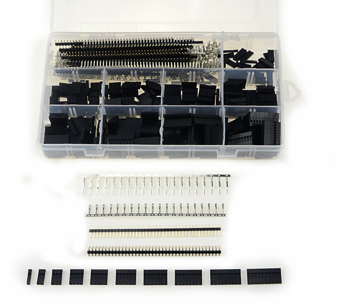 XLX 1100Pcs 40 Pin 2.54mm Pitch Single Row Pin Headers--Dupont Connector Housing Female Dupont Male/Female Pin Connector Kit with Box