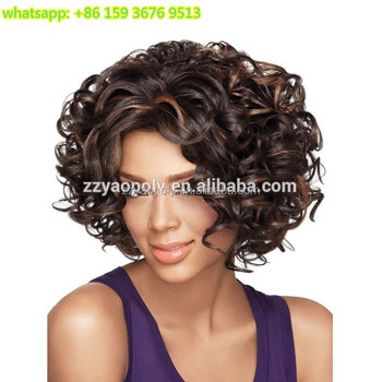 short synthetic wigs for black white african women top quality 4 27 color  curly bob 2bdeb66e9f