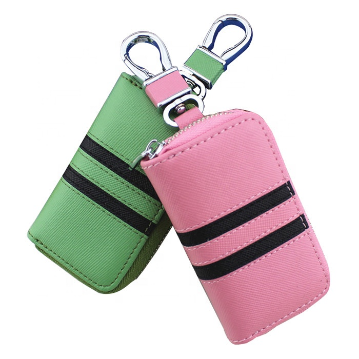 Fashion Real Cowhide Leather Car Key Pouch Unisex Zipper Car Key Bag With Car Key Ring