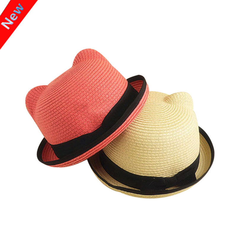 2016 New Kids Straw Hats Fedora Hat Children Beach Sun Baby Ear Vintage Baby Boy And