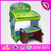 Cute wooden learning desk and chair for kids,lovely wooden toy writing desk for children,study writing desk for baby WJ278561