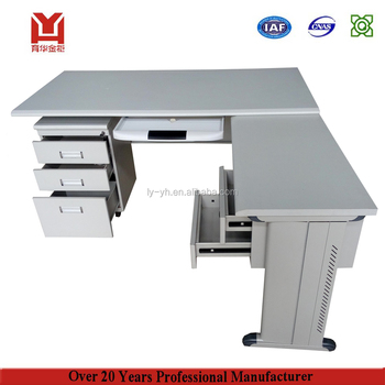 Top Quality Executive Stainless Steel Work Table Computer Table L Shape Steel  Office Desk