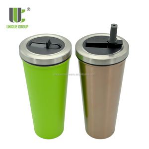 Reusable Colorful Leakproof Straw Cap Metal Ice Water Drinking Coffee Mug Tumbler
