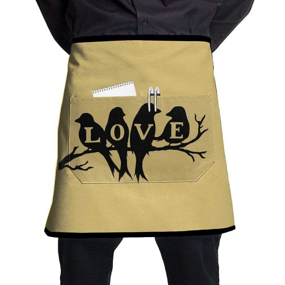 White Apron, Womens Salon Aprons With Pocket, Cobbler Apron For Men, Kitchen Accessories, Love Birds Yellow