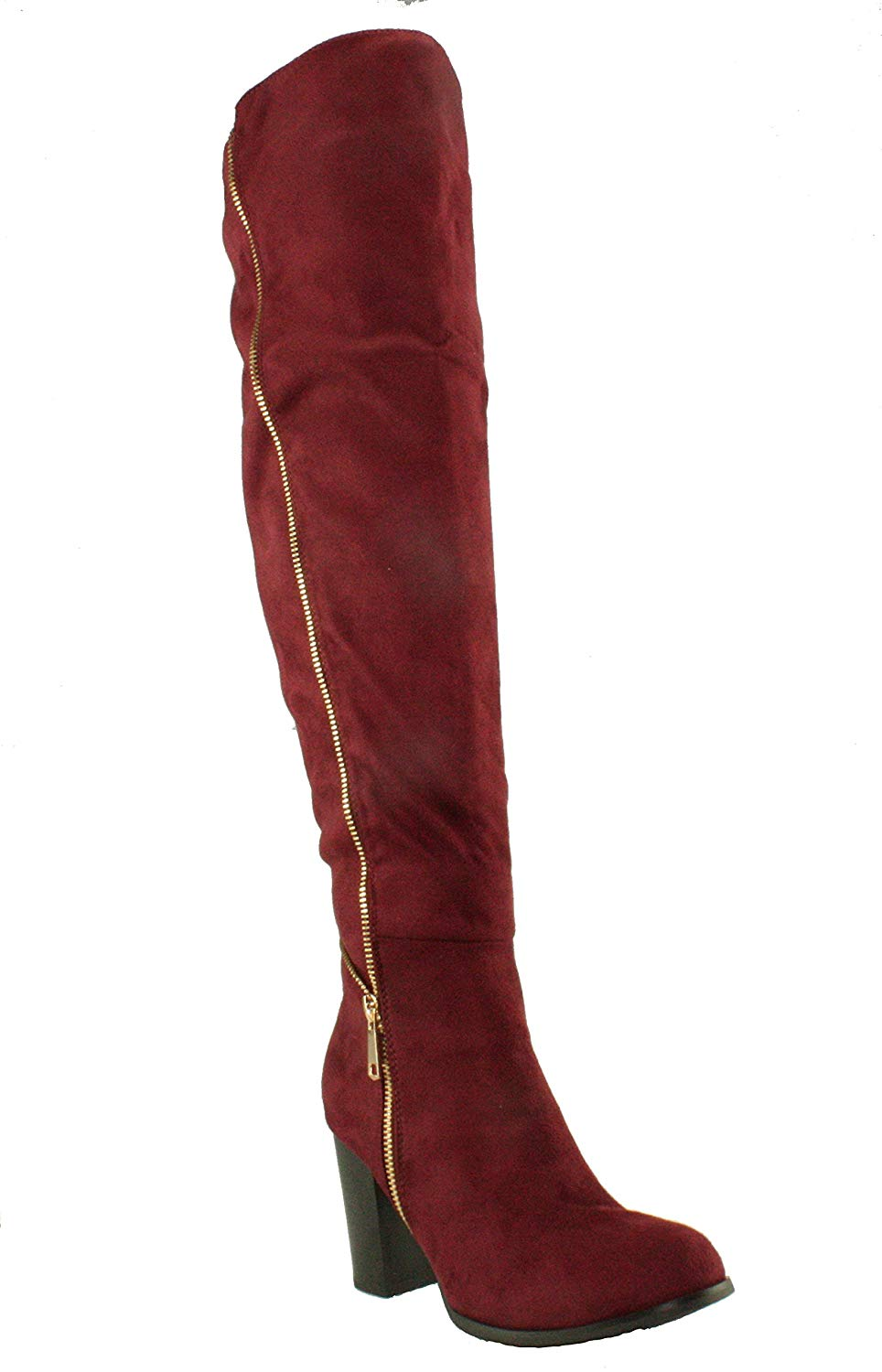 Forever Women's Frances-17 Faux Suede Chunky Block Heel Over The Knee High Heel Boots