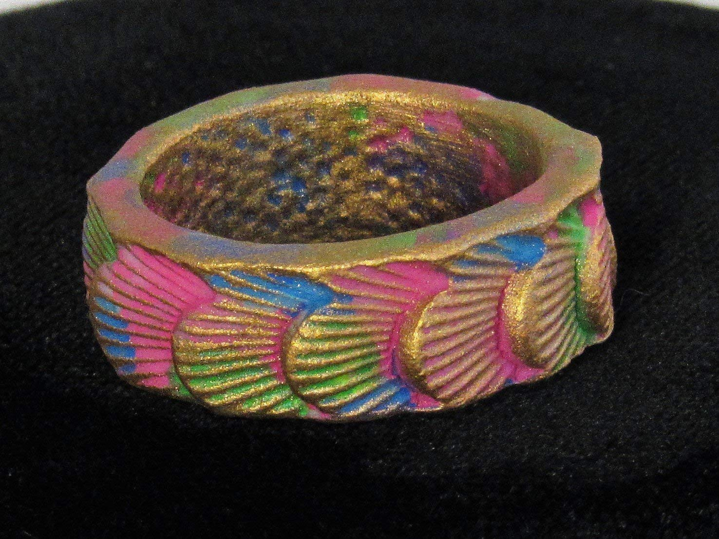 "0.38"" Wide Band Statement Ring Size 7 3/4 Goldtone Blue Green Pink Multi Color Boho Hippie Seashell Design Handmade Porcelain Clay Textured Patina Dread Braid Bead Hair Jewelry"