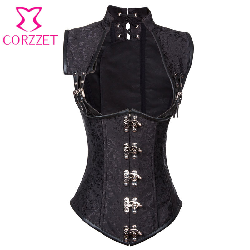 73413c48525 Black Brocade Collared Top Sexy Cupless Waist Trainer Vest Corset Gothic  Waist Training Corsets Steel Boned Steampunk Clothing