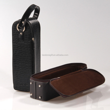 Fashion luxury customized black faux leather 2 bottle wine carrier