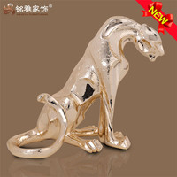 Wholesale decorative items polyresin animal figurine leopard statue for gift
