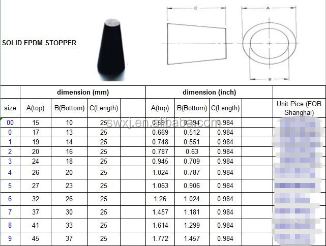 Usa Standard Rubber Stoppers For Lab Bottle For Test Tube