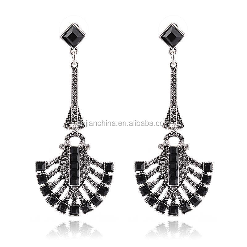 Customized logo bag real diamond earrings shining silver earring with diamond ear plug stainless steel asian style