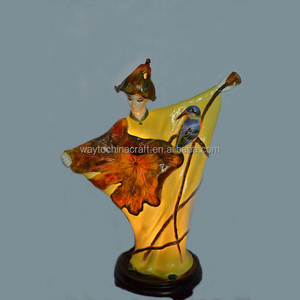 Oriental lovely porcelain antique figurine lamp