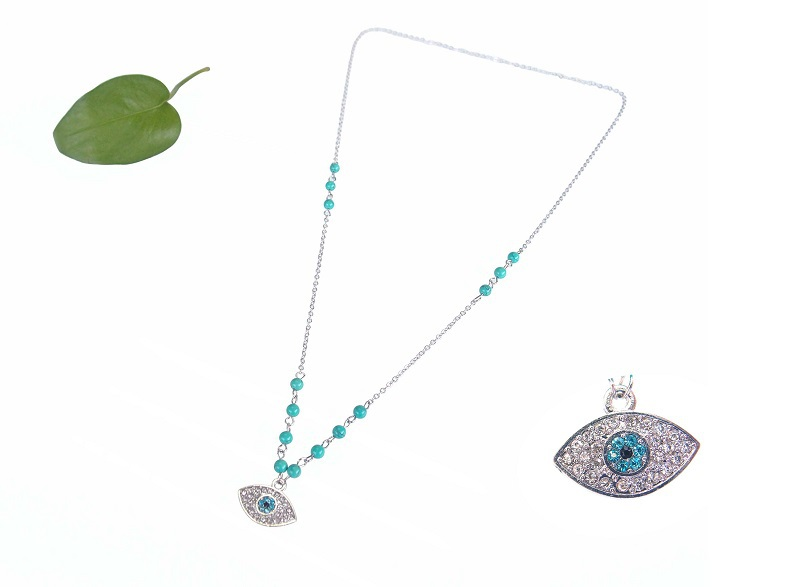 Fashion Evil Eye Necklace,Handmade Blue Gemstone Beaded Blue Turkish Evil Eye Necklace
