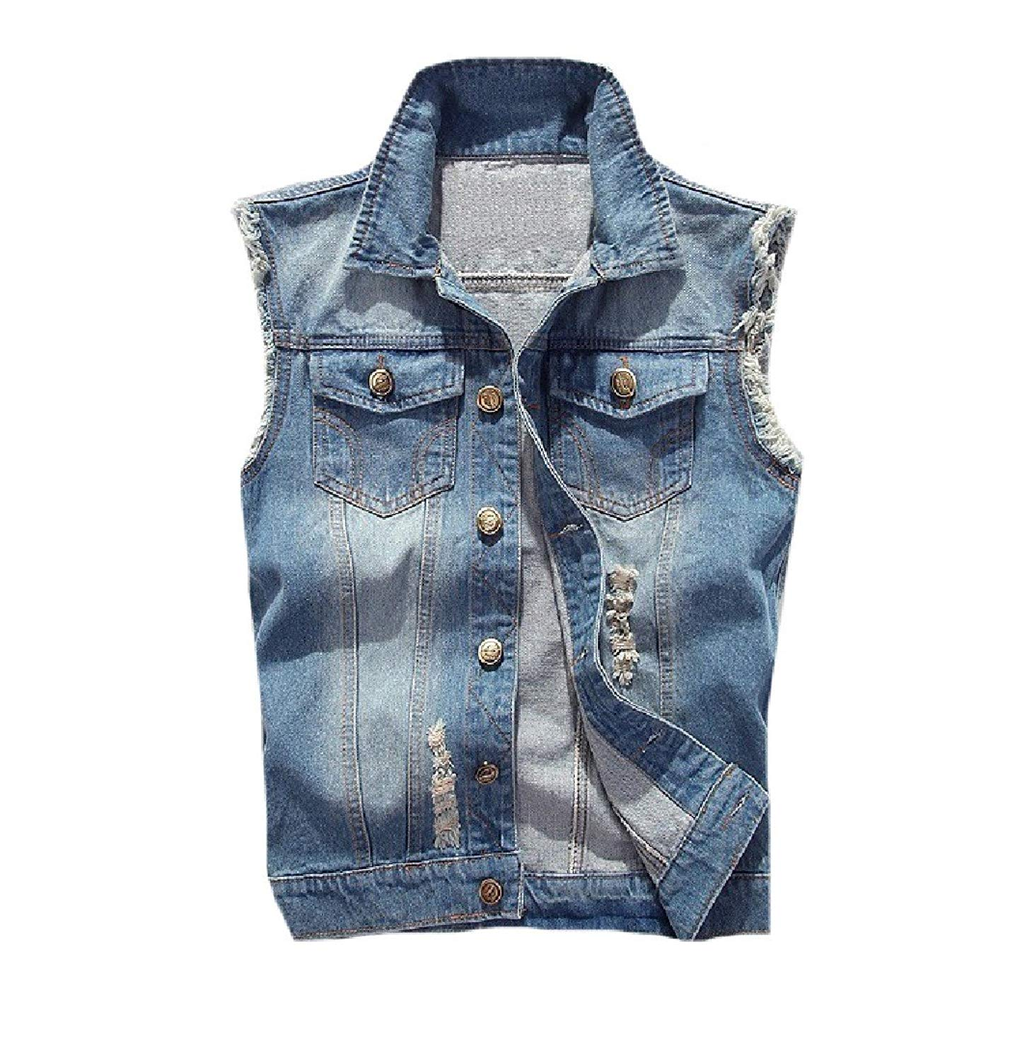 9a67ea19844d0 Get Quotations · Comaba Men s Jean Silm Fit Cami Plus Size Leisure Waistcoat  Sleeveless Jean Jacket Vest