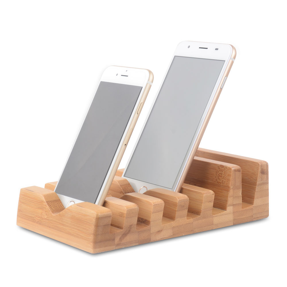 Phone Grip And Stand Mobile Phone Display Stand Natural Wood Bamboo Charging Stand For Smartwatch And Smartphones