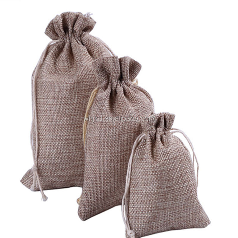 China made customized drawstring linen jute and cotton bag with logo printing