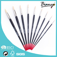 Fashionable designLight yellow synthetic brass ferrule Wooden handle artist paint brush set for art painting
