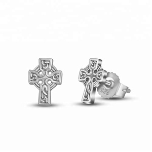 925 Sterling Silver Platinum Plated Classic Jesus Faith Symbol Cross Stud Earrings