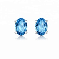 Genuine 925 Sterling Silver Zircon Oval Four Claw Stud Earring for Women hypoallergenic Fashion Jewelry