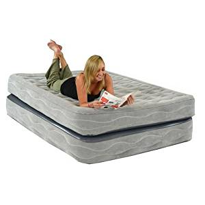 Smart Air Beds Champion Raised Air Bed with Built-In Pump, Gray, Queen