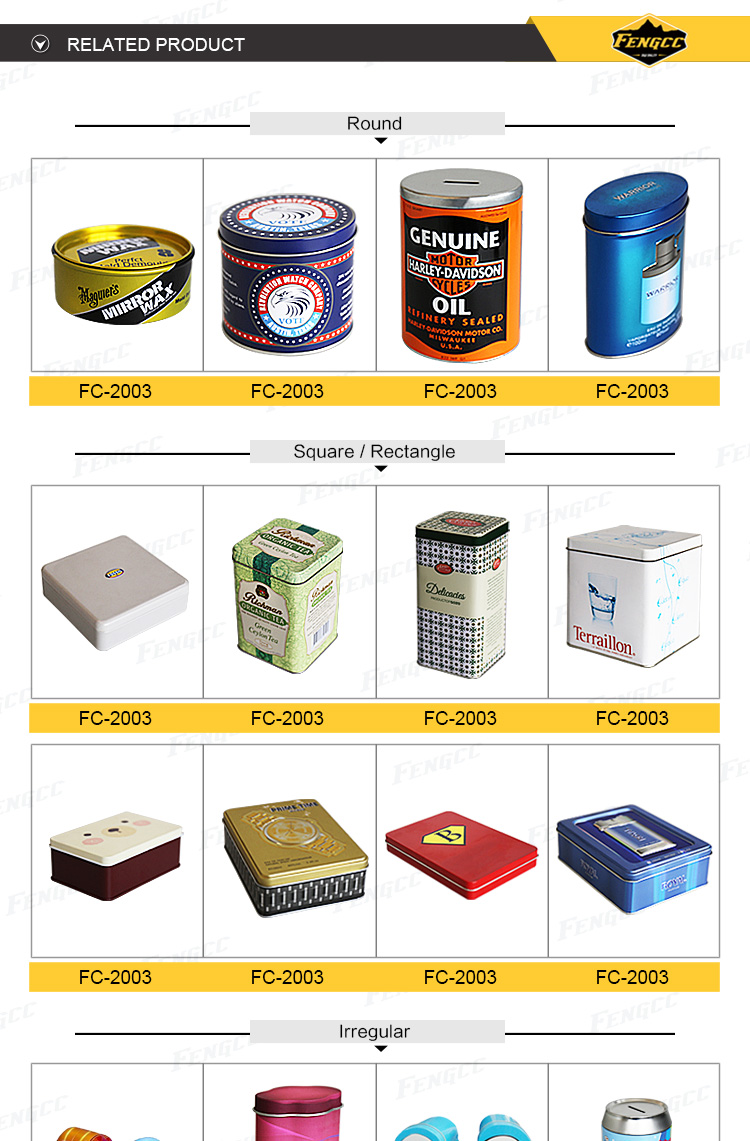Hot Promotion customized embossed color logo flat square / rectangle metal tin box