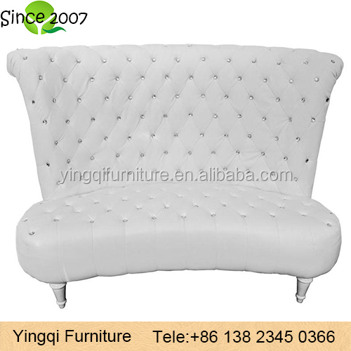 White Diamond High Back Loveseat Wedding Sofa